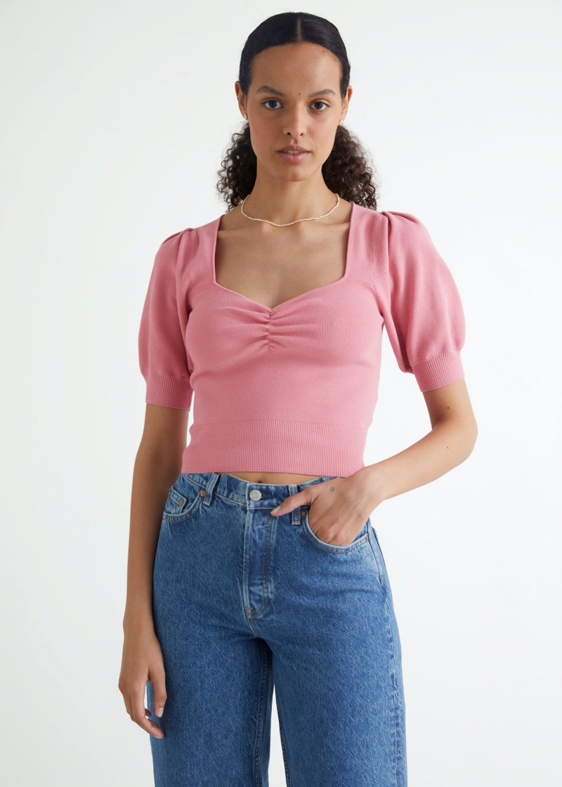 & Other Stories Ribbed Puff Sleeve Crop Top in Pink $69