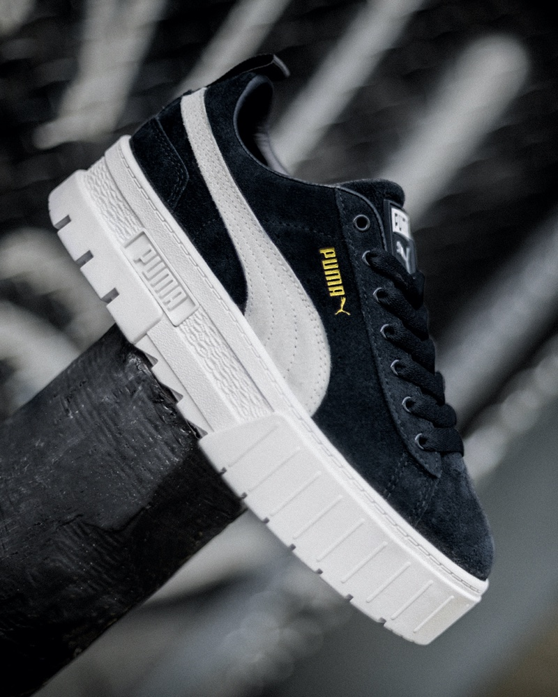 A look at PUMA's Mayze sneaker in black.