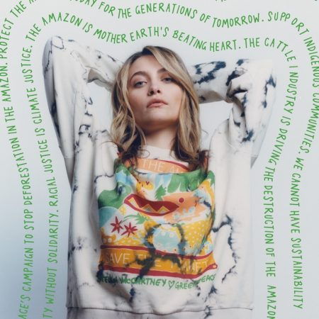 Actress Paris Jackson wears limited-edition Stella McCartney x Greenpeace collection.