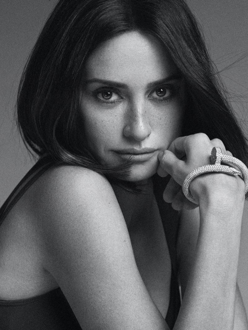 Getting her closeup, Penelope Cruz poses in black and white.