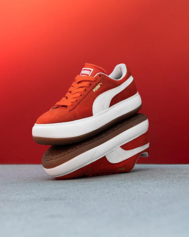 The PUMA Suede Mayu sneaker in red.
