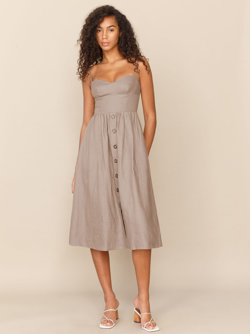 Reformation Cale Linen Dress in Clay $248