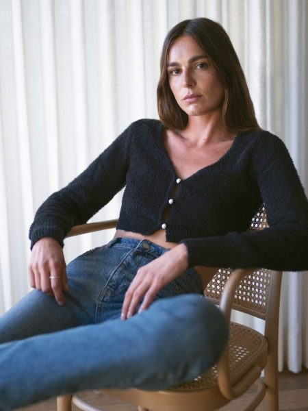 Reformation Lotte Cropped Cardigan in Black $128