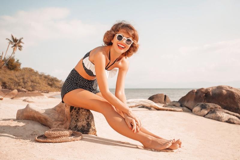 Retro Polka Dot High Waist Swimsuit Model Beach Smiling
