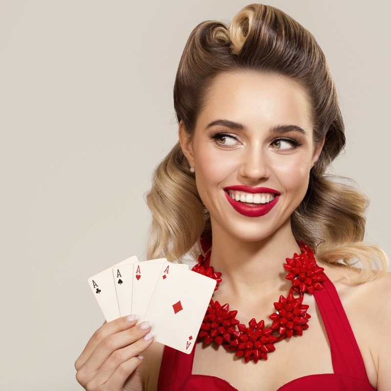 Retro Woman Beauty 1950s Holding Four Aces Cards