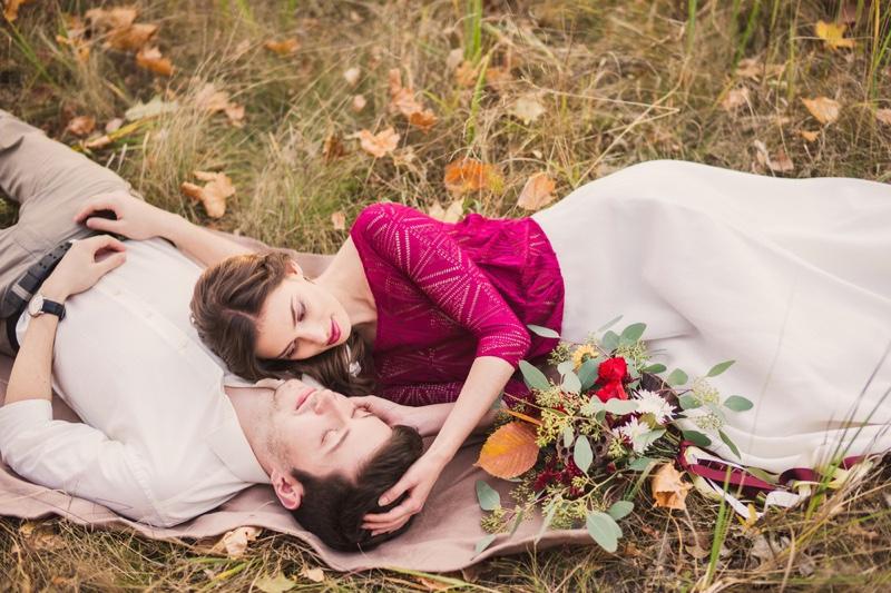 Romantic Couple Outdoors Autumn Fashion Photo