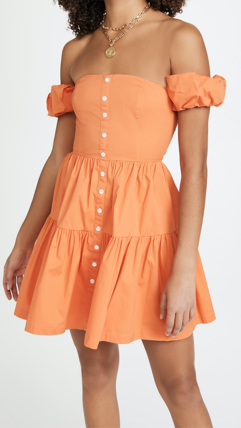 STAUD Mini Elio Dress in Nectarine $245