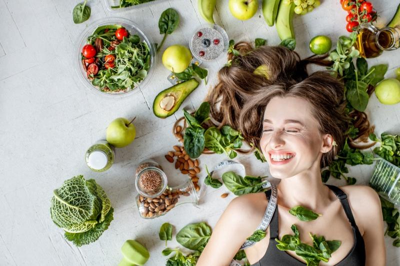 Smiling Model Healthy Food Vegan Diet Lifestyle