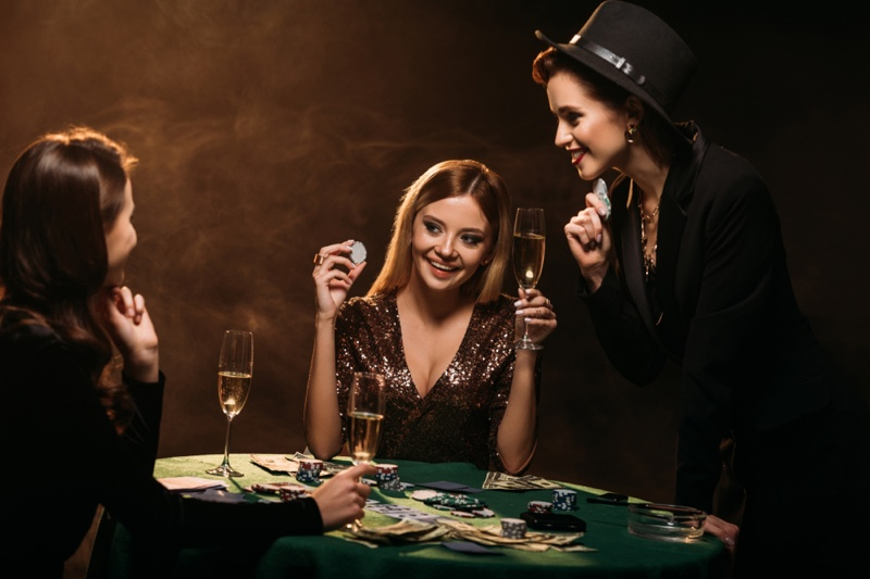Smiling Woman Playing Cards Table Poker