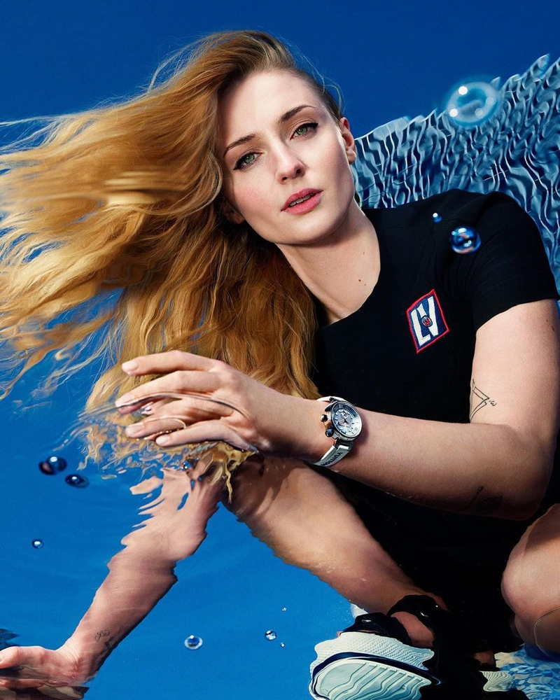 Sophie Turner stars in Louis Vuitton Tambour Street Diver watch campaign.