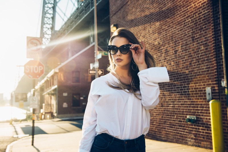 Stylish Woman City Sunglasses White Shirt