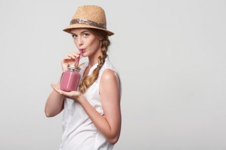 Stylish Woman Drinking Smoothie Drink Straw