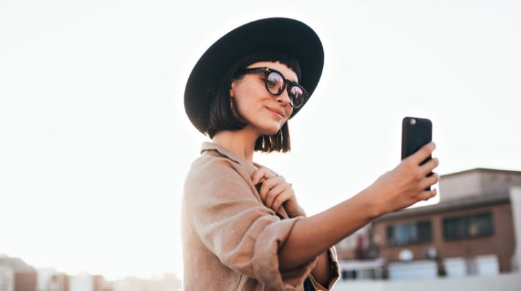Stylish Woman Hat Phone Influencer Social Media