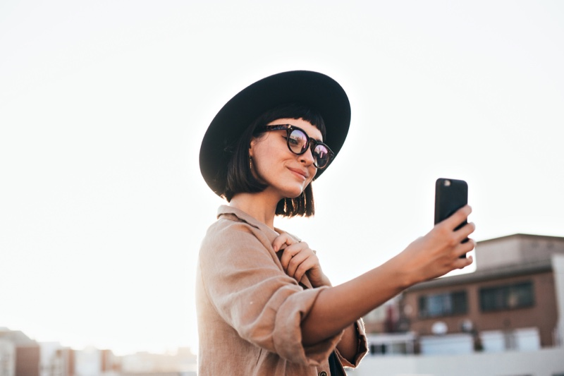 Stylish Woman Hat Phone Influencer Social Media