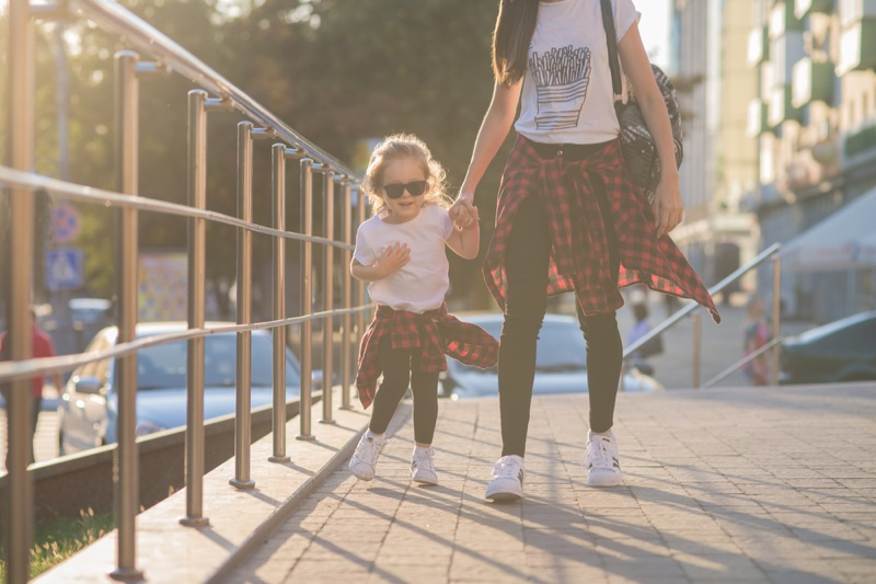 Toddler Mother Matching Outfits T-Shirt Plaid Jeans
