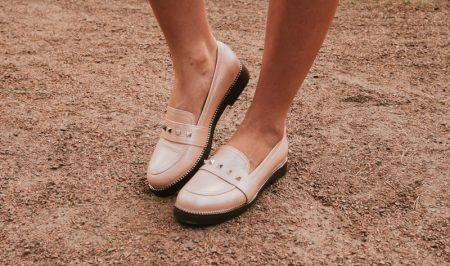 Trendy Beige Loafers Spikes Women's Shoes