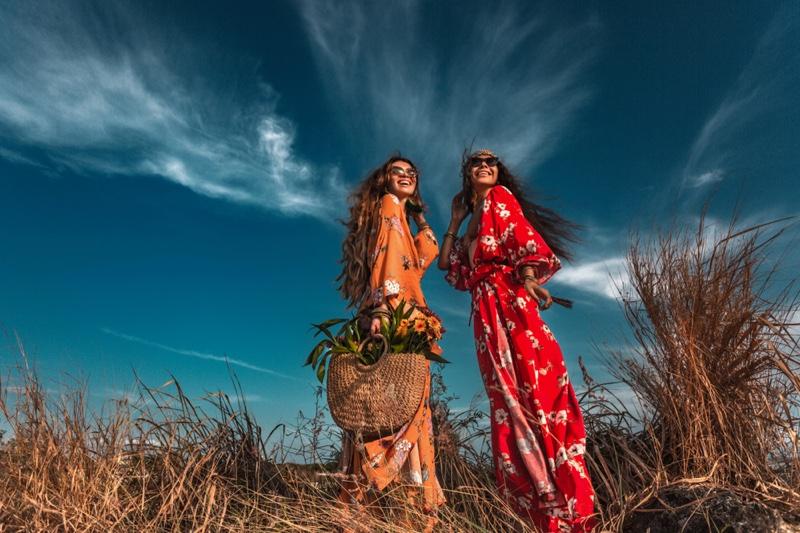 Two Models Long Print Dresses Outdoors Boho Style
