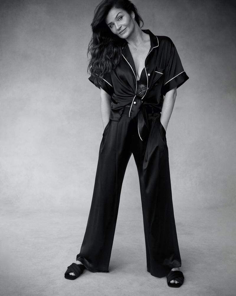 Helena Christensen wears Victoria's Secret Satin Short-Sleeve PJ Set.