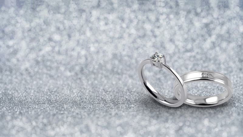 Wedding Rings Set Silver