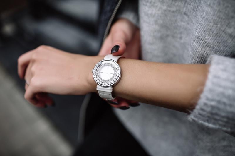 White Woman Luxury Watch Diamonds