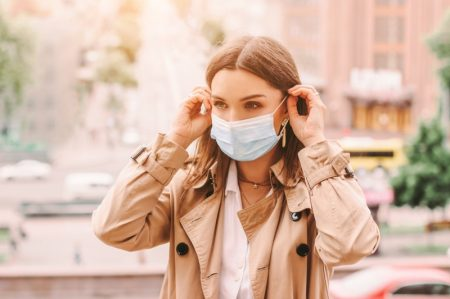 Woman Blue Face Mask Trench Coat Stylish City
