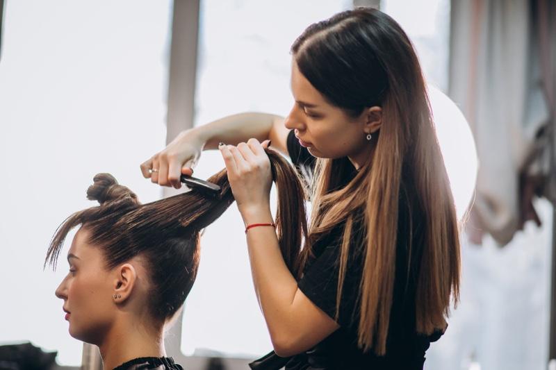 Woman Hair Salon Getting Hair Done Hairdresser