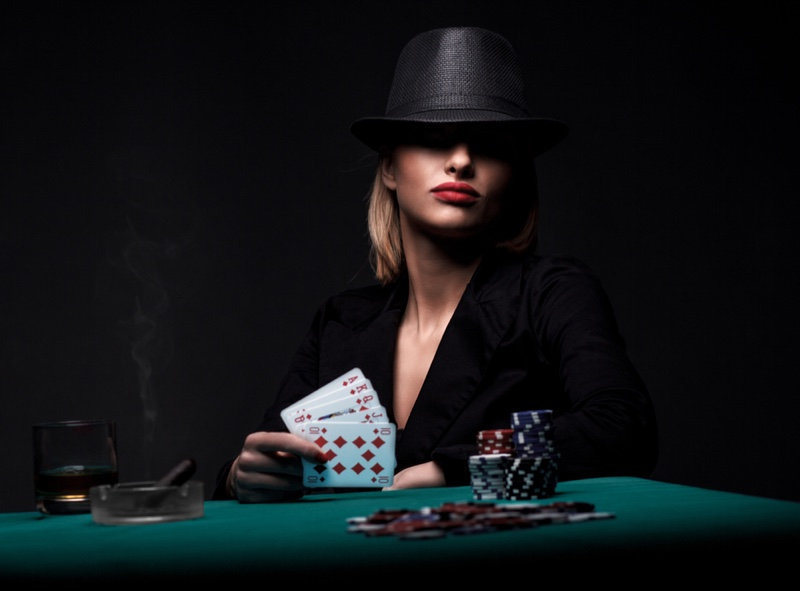 Woman Hat Red Lipstick Casino Cards