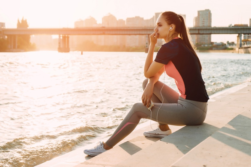 Woman Listening Music Earphones Workout Outfit City Outside