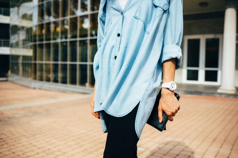 Woman Oversized Denim Shirt Jeans