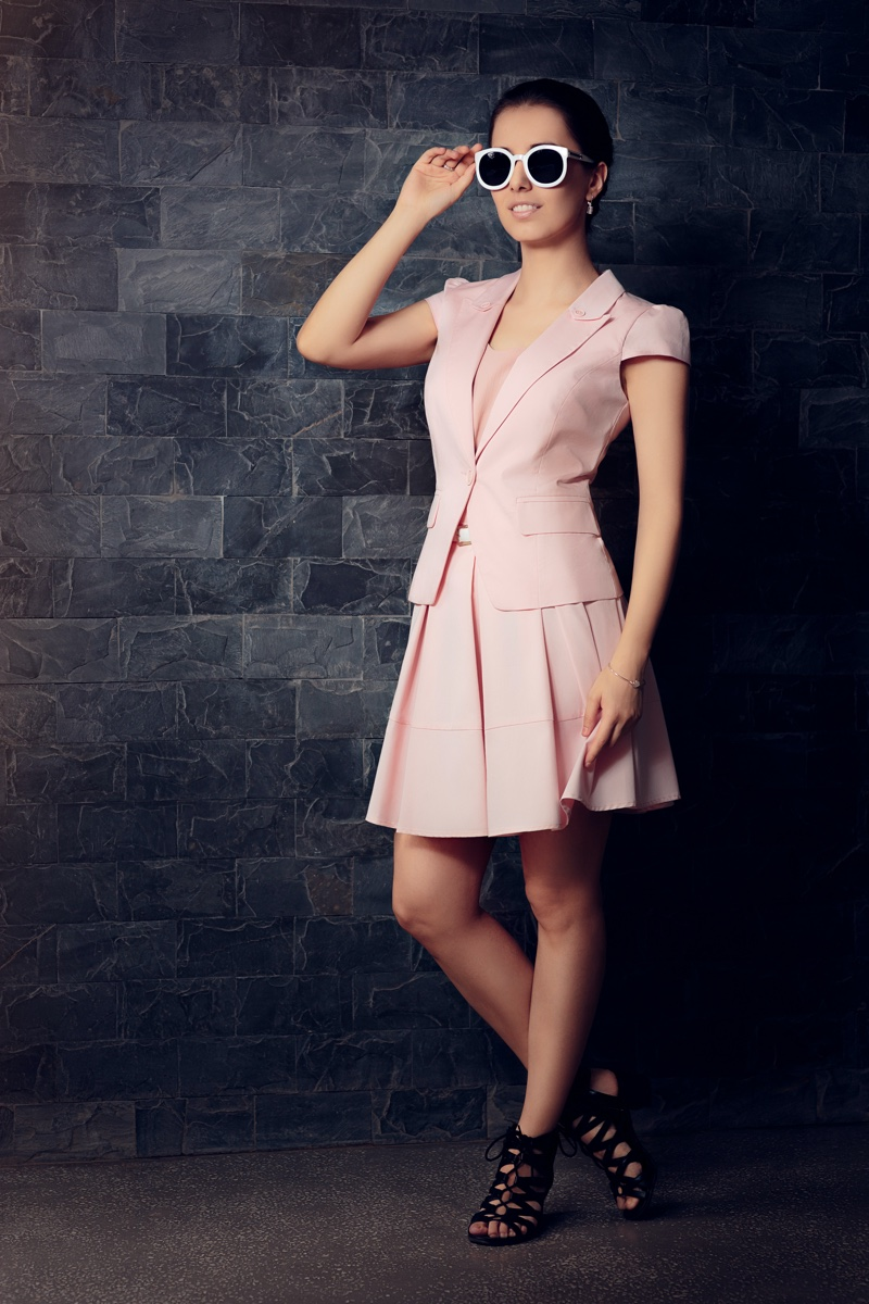 Woman Pink Jacket Skirt Matching Set