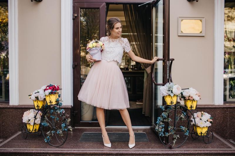 Woman Pink Tulle Skirt Flowers Front Door