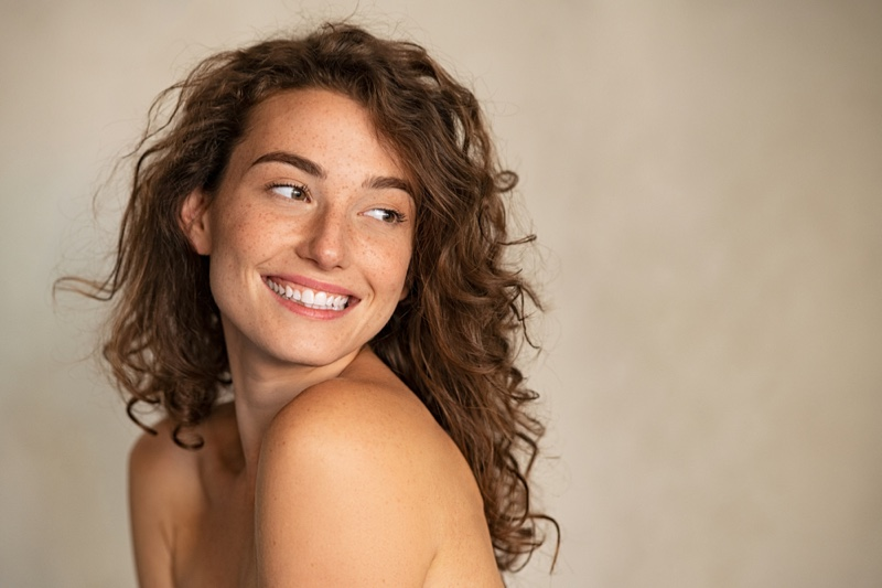 Woman Smiling Natural Beauty Freckles