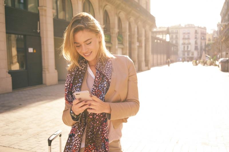Woman Traveling Smiling Phone Street Sun