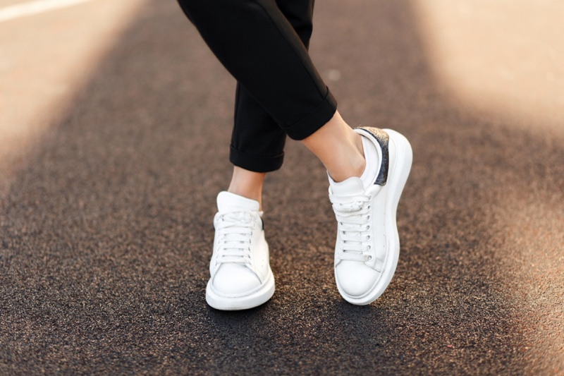 Woman White Sneakers Street