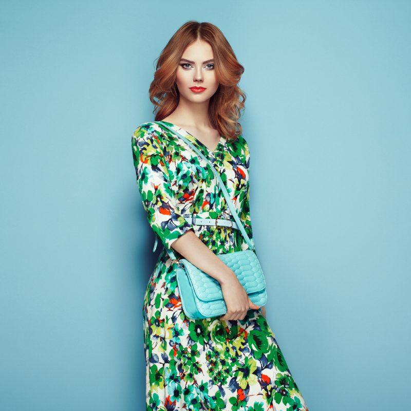 Woman in Print Dress