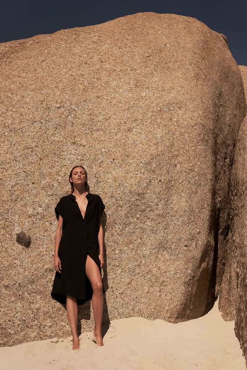 Anja Rubik models Zara long linen blouse.
