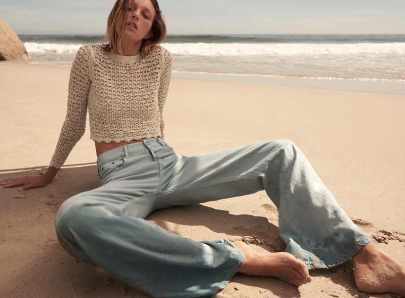 Zara Pointelle Knit Sweater and The Dita Wide Leg Jeans.