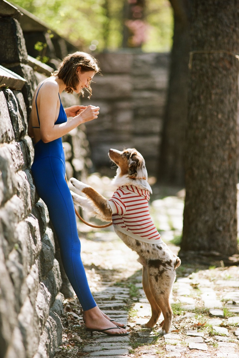 Zara Long Stretch Jumpsuit and Striped Sweatshirt Pet Collection.