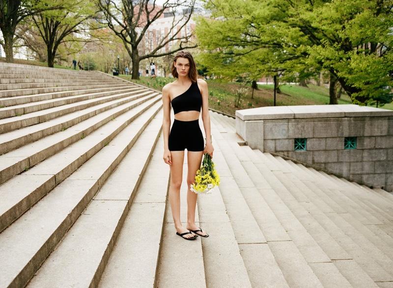 Zara Seamless Asymmetrical Top and Seamless Shorts.