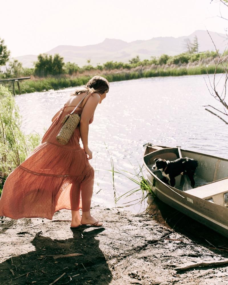 Alyssa Miller poses in Anthropologie picnic style guide. Photo: Graham Dunn