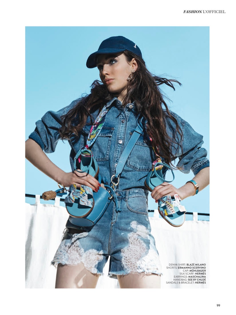 Anna Steiningerová Jumps in Jean Outfits for L'Officiel Arabia