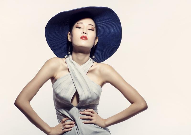 Asian Model Posing Dress Hat Fashion