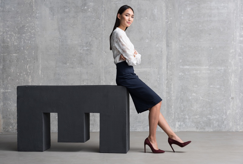 Asian Woman Confident Business Career White Top Skirt Outfit