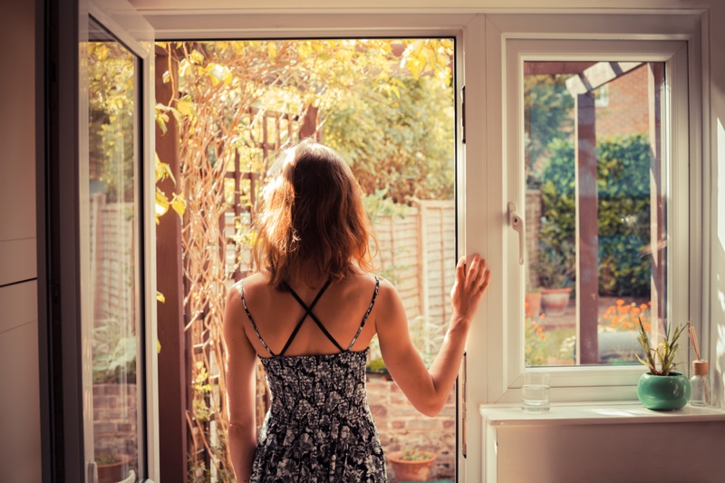 Back Woman Home Summer Garden Window