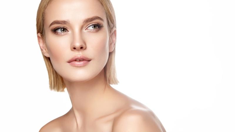 Beauty Model Short Blonde Hair Glam
