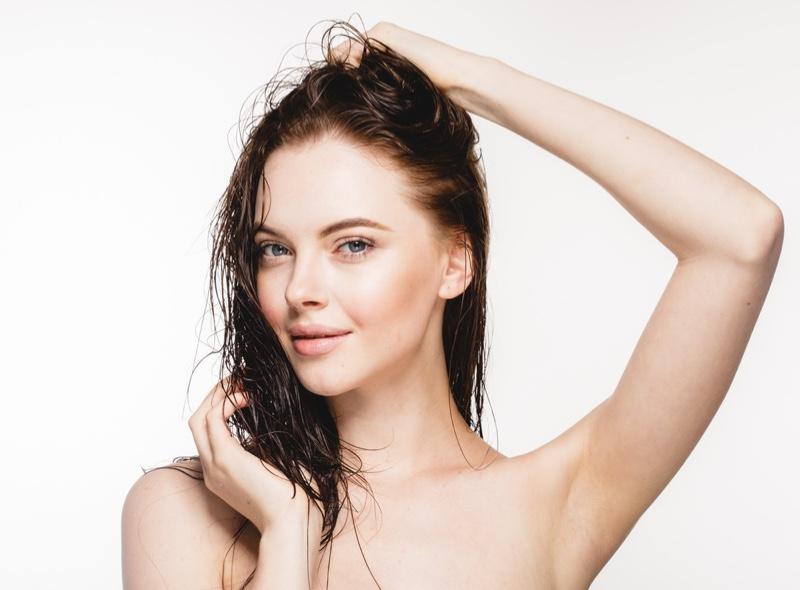 Beauty Model Wet Hair Shampoo Concept