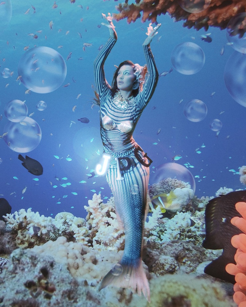 Bella Hadid poses as a mermaid in Jean Paul Gaultier Les Marins campaign.
