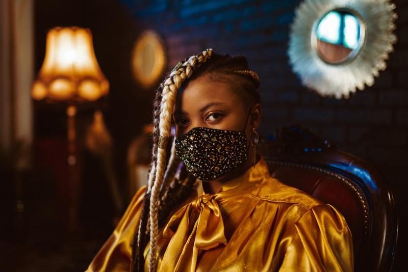 Black Woman Blonde Braid Face Mask Yellow Top