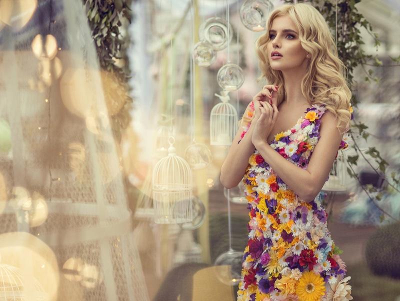 Blonde Model Flower Embellished Dress Nature Concept