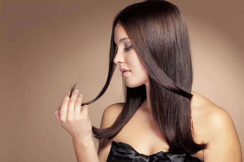 Brunette Model Touching Hair